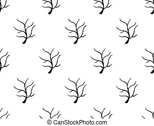 Black Tree Stripped Bare on White Background