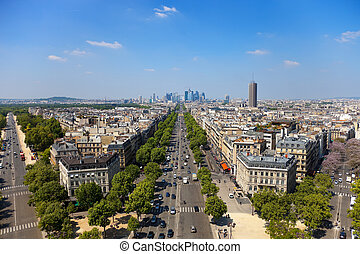The Avenue Charles de Gaulle and La Defense, Paris