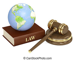 Judicial 3d gavel and Earth Objects isolated over white