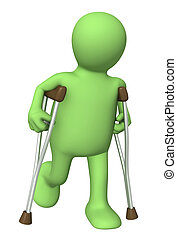 Pippet with crutches - 3d puppet with crutches. Isolated...
