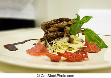 quail with chocolate sauce with strawberries and ice-cream