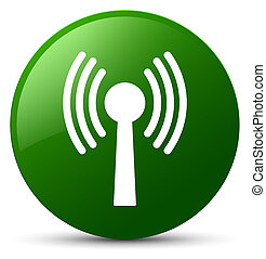 Wlan network icon green round button - Wlan network icon...