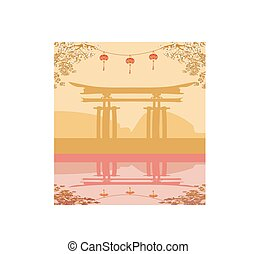 Abstract card with Asian buildings and cherry blossoms