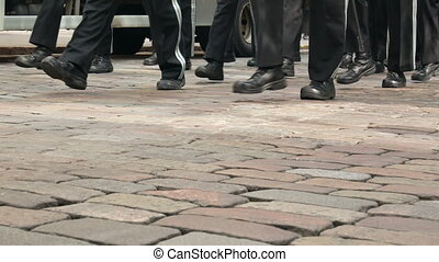 Soldiers marching boot - Soldiers marching in a line boot