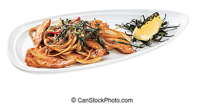 Tori Udon - Noodles with hen plate - isolated on white...