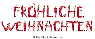 Elfs forming the phrase Frhliche Weihnachten isolated on...