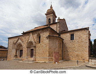 Church La Collegiata di San Quirico D'Orcia,Tuscany. The...