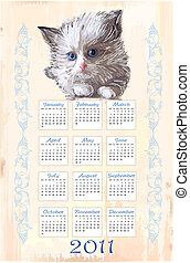 hand drawn calendar 2011 with fluffy kitten