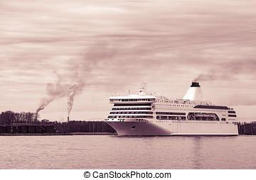 White passenger ship underway - White cruise liner sailing...