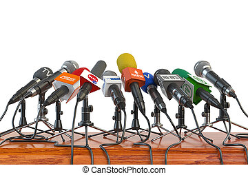 Microphones of different mass media, radio, tv and press...