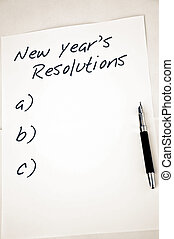 Empty new year resolutions - New year resolution and a pen