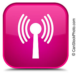 Wlan network icon special pink square button - Wlan network...