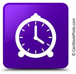 Alarm clock icon purple square button - Alarm clock icon...