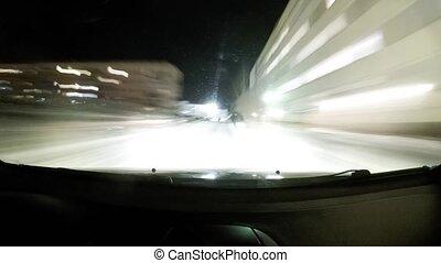 Driving on a car on a winter night. Begunitsy, Leningrad...