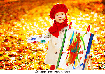 Autumn Child Painting Art Picture, Kid Artist Drawing Fall Leaves, Baby Girl Outdoor Portrait