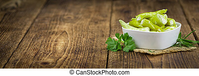 Stuffed green Chilis (selective focus) - Some homemade Green...