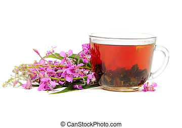 Ivan-tea on white - A cup of Ivan tea with flowers isolated...