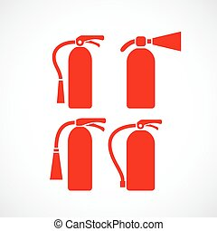 Fire extinguisher vector icons set