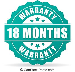 18 months warranty vector icon isolated on white background