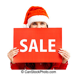 Sale announcement - Happy girl in Santa cap holds card with...