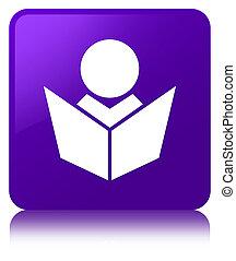 Elearning icon purple square button