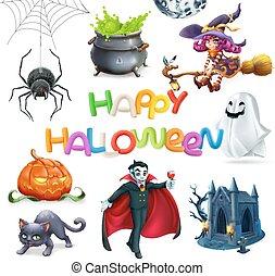 Happy Halloween. Pumpkin, spider, cat, witch, vampire, crypt...