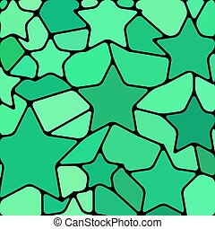 abstract vector stained-glass mosaic background - teal stars