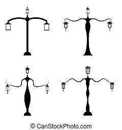 street lamp icon set