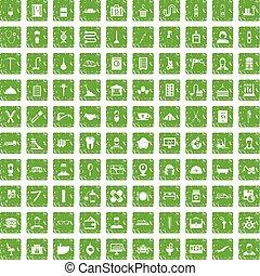 100 craft icons set grunge green - 100 craft icons set in...