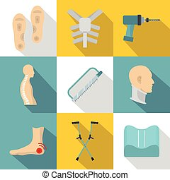 Orthopedic icon set, flat style - Orthopedic icon set. Flat...