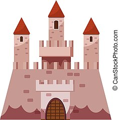 Stronghold castle icon, cartoon style
