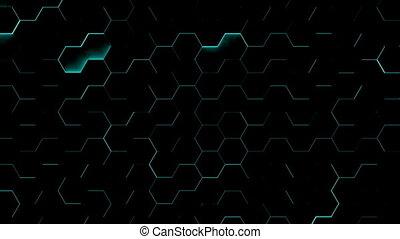 Hexagon textures with blue light. 3D render