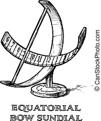 equatorial bow sundial - Vector hand drawn illustration of...
