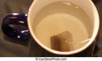mug of tea time laps - great circle which is poured boiling...