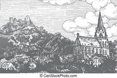 Engraved vector illustration of old village