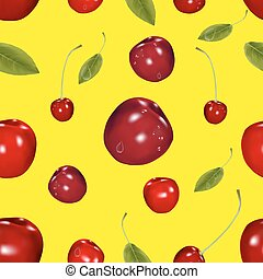 Seamless cherry pattern with leaves, on a yellow background.