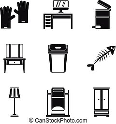 House cleaning icon set, simple style