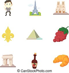 French sights icons set, cartoon style