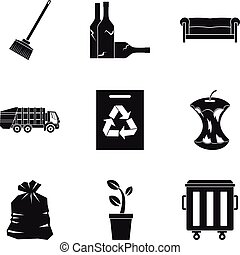 Recycle cleaning service icon set, simple style