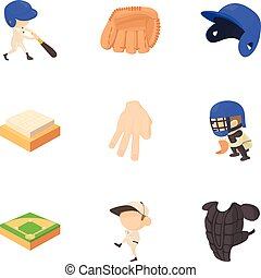 Sport game icons set, cartoon style - Sport game icons set....