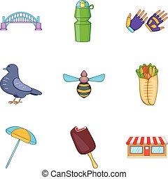 Free time in park icon set, cartoon style - Free time in...