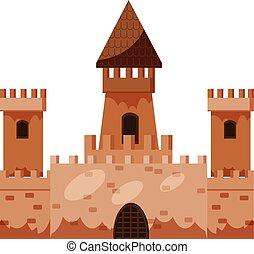 Historical castle icon, cartoon style
