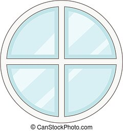 Round window frame icon, cartoon style - Round window frame...