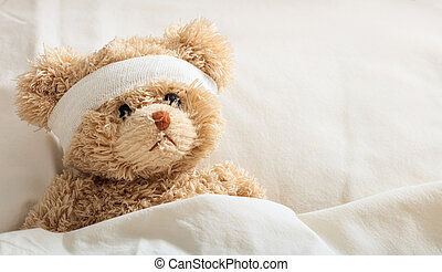 Teddy bear sick in the hospital