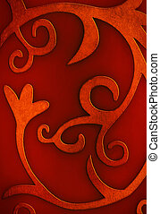 Red Curly background - Red Christmas background with floral...