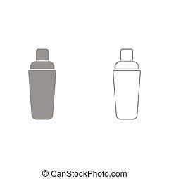 Shaker it is icon . - Shaker grey set it is icon . Flat...