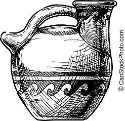 Greek vase. Askos. - Vector hand drawn sketch of ancient...