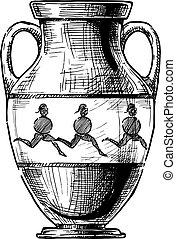 Greek vase. Amphora - Amphora. Vector hand drawn sketch of...