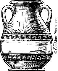 Greek vase. Pelike. - Pelike. Vector hand drawn sketch of...