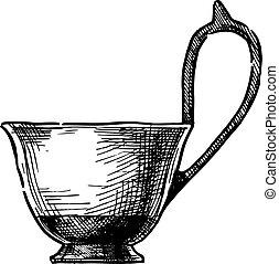 Kyathos. Greek vase. - Vector hand drawn sketch of Kyathos....